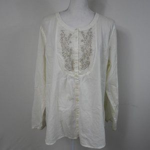 C202 Tantrums Cream Embroidered Blouse
